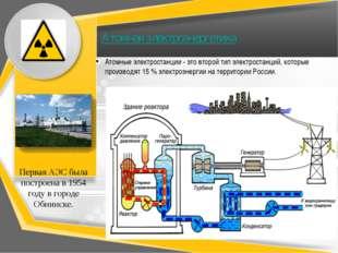 Атомная электроэнергетика Атомные электростанции - это второй тип электростан