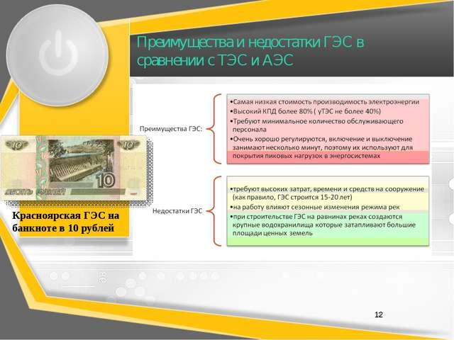 Преимущества и недостатки ГЭС в сравнении с ТЭС и АЭС 12 Красноярская ГЭС на...