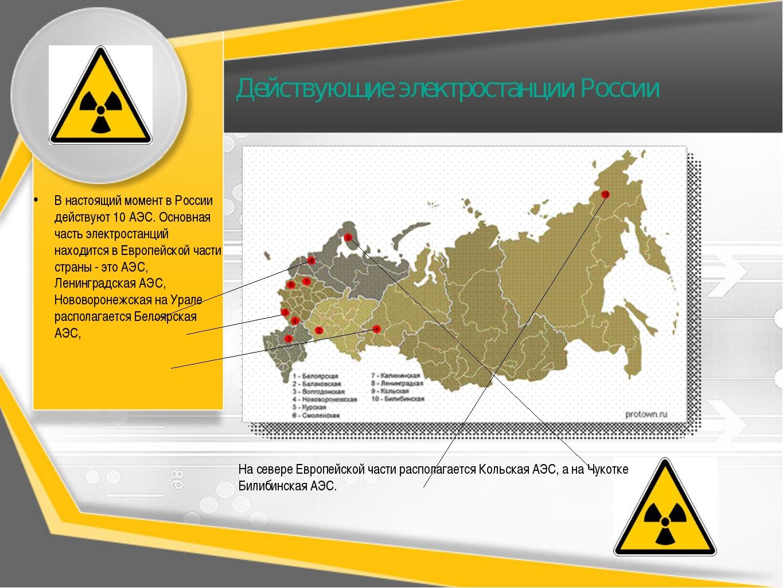 Действующие электростанции России В настоящий момент в России действуют 10 АЭ...