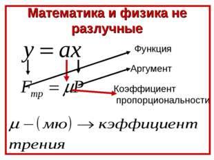 Математика и физика не разлучные Функция Аргумент Коэффициент пропорционально