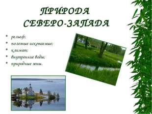 ПРИРОДА СЕВЕРО-ЗАПАДА рельеф; полезные ископаемые; климат; внутренние воды; п