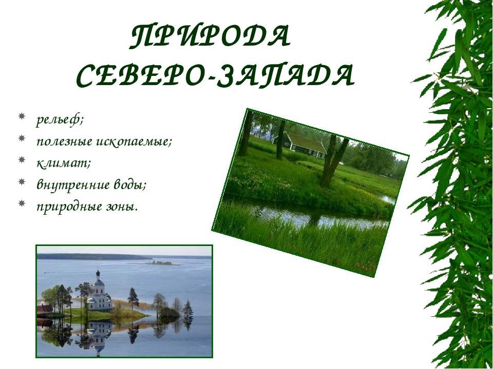 ПРИРОДА СЕВЕРО-ЗАПАДА рельеф; полезные ископаемые; климат; внутренние воды; п...