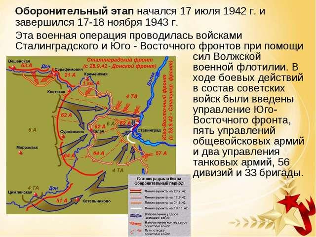 Оборонительный этап начался 17 июля 1942 г. и завершился 17-18 ноября 1943 г...