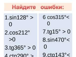 sin128° > 0 cos212° >0 tg365° > 0 ctg290° > 0 sin94° < 0 6 сos315°< 0 7.tg15°
