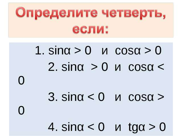 1. sinα > 0 и cosα > 0 2. sinα > 0 и cosα < 0 3. sinα < 0 и сosα > 0 4. sinα...