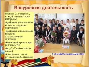 Внеурочная деятельность В классе 21 учащийся , каждый занят по своим интерес