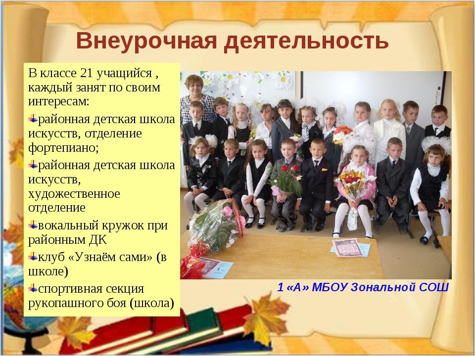 Внеурочная деятельность В классе 21 учащийся , каждый занят по своим интерес...