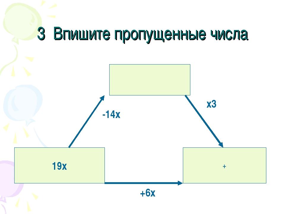 3 Впишите пропущенные числа 19х + -14х х3 +6х