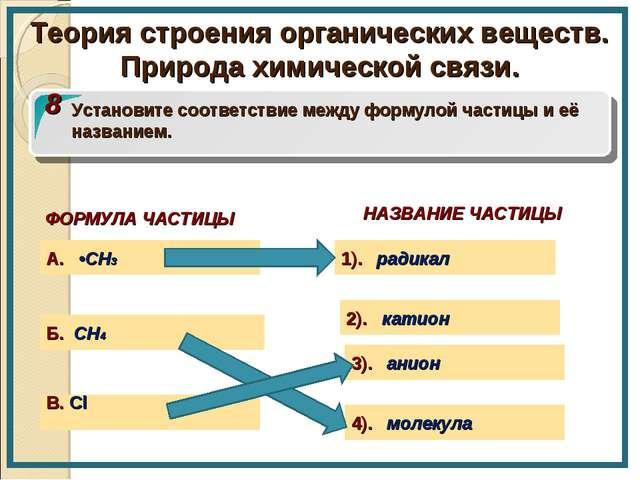 ФОРМУЛА ЧАСТИЦЫ В. Cl Б. CH4 8 Установите соответствие между формулой частицы...