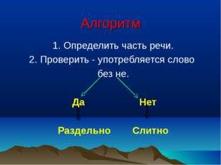 Алгоритм 1. Определить часть речи. 2. Проверить - употребляется слово без не.