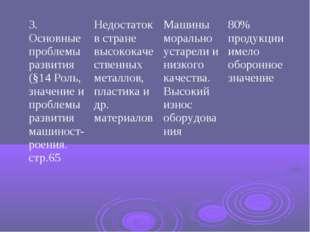3. Основные проблемы развития (§14 Роль, значение и проблемы развития машинос