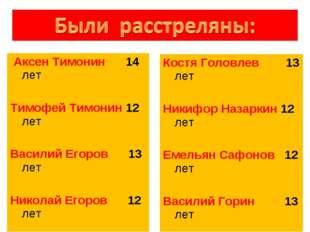 Аксен Тимонин 14 лет Тимофей Тимонин 12 лет Василий Егоров 13 лет Николай Ег