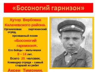 Хутор Вербовка Калачевского района. Организован партизанский отряд, прозванны
