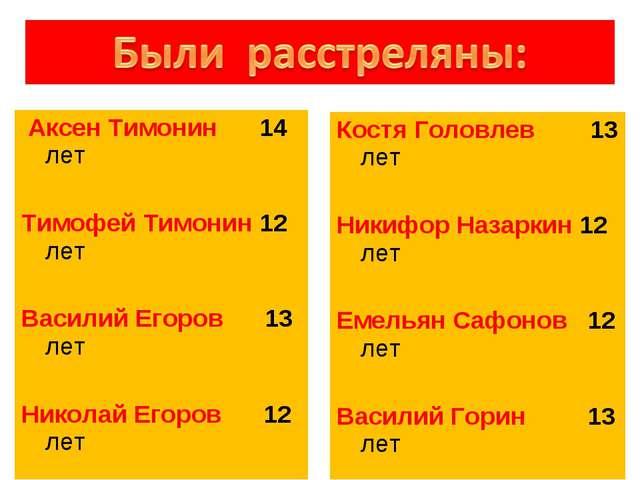 Аксен Тимонин 14 лет Тимофей Тимонин 12 лет Василий Егоров 13 лет Николай Ег...