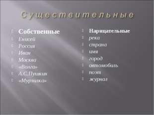 Собственные Енисей Россия Иван Москва «Волга» А.С.Пушкин «Мурзилка» Нарицател