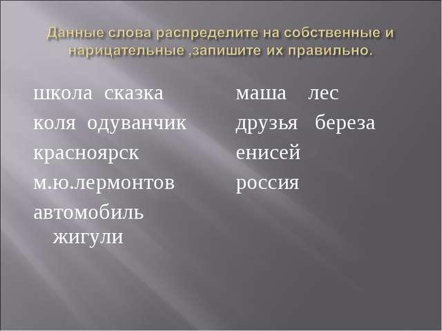 школа сказка коля одуванчик красноярск м.ю.лермонтов автомобиль жигули маша л...