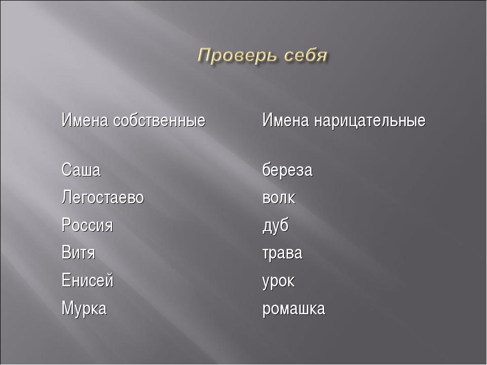 Имена собственныеИмена нарицательные Сашабереза Легостаевоволк Россиядуб...