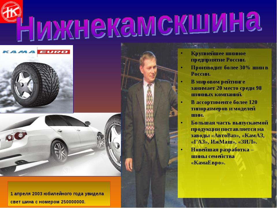 Крупнейшее шинное предприятие России. Производит более 30% шин в России. В ми...