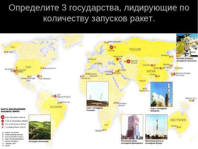 Определите 3 государства, лидирующие по количеству запусков ракет.