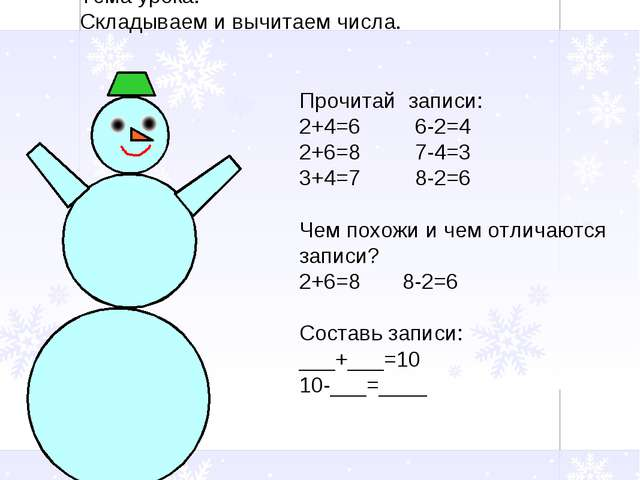 Тема урока: Складываем и вычитаем числа. Прочитай записи: 2+4=6 6-2=4 2+6=8 7...