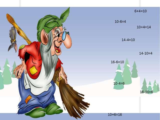 Распределите записи по группам: 6+4=10 14-4=10 14-10=4 10-6=4 10+4=14 10+6=16...