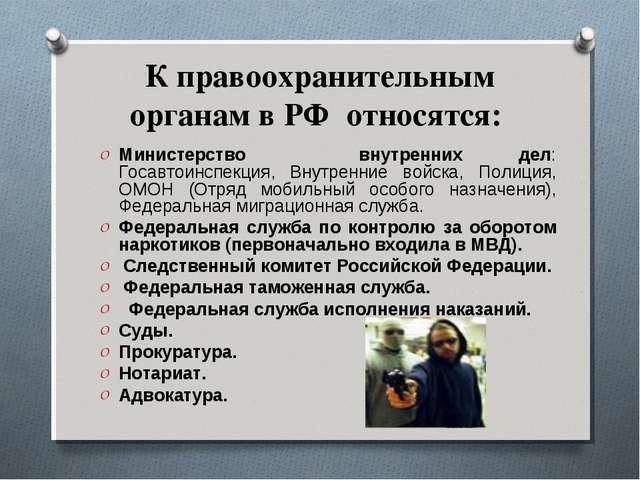 К правоохранительным органам в РФ относятся: Министерство внутренних дел: Гос...