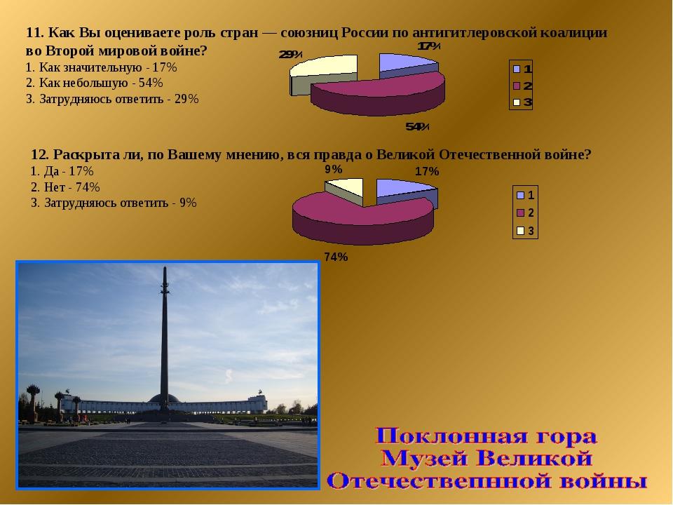 11. Как Вы оцениваете роль стран — союзниц России по антигитлеровской коалици...