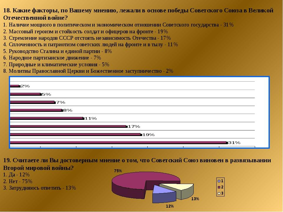 18. Какие факторы, по Вашему мнению, лежали в основе победы Советского Союза...