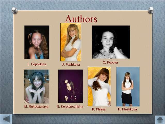 Authors L. Popovkina U. Pashkova O. Popova M. Rukodaynaya N. Korotonozhkina K...