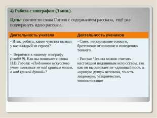 4) Работа с эпиграфом (3 мин.). Цель: соотнести слова Гоголя с содержанием ра