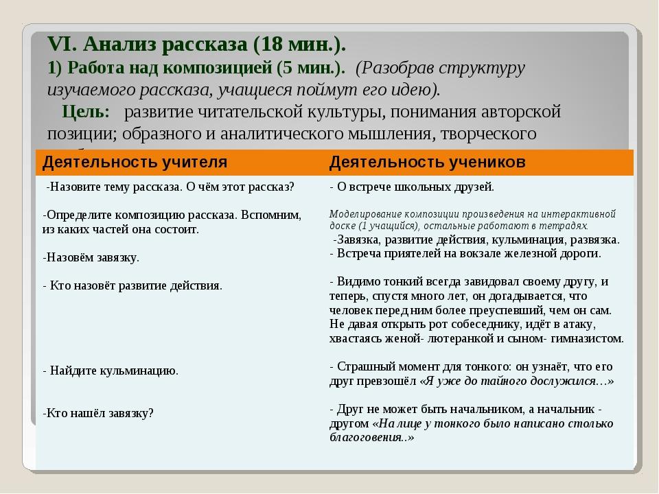 VI. Анализ рассказа (18 мин.). 1) Работа над композицией (5 мин.). (Разобрав...