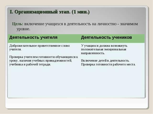 I. Организационный этап. (1 мин.) Цель: включение учащихся в деятельность на...