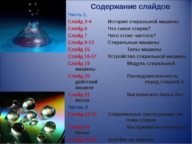 Содержание слайдов Часть 1. Слайд 3-4 История стиральной машины Слайд 6 Чт...