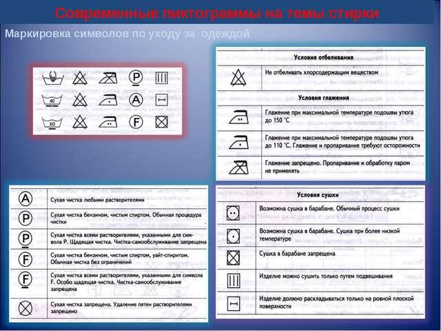 Современные пиктограммы на темы стирки  Маркировка символов по уходу за одеж...