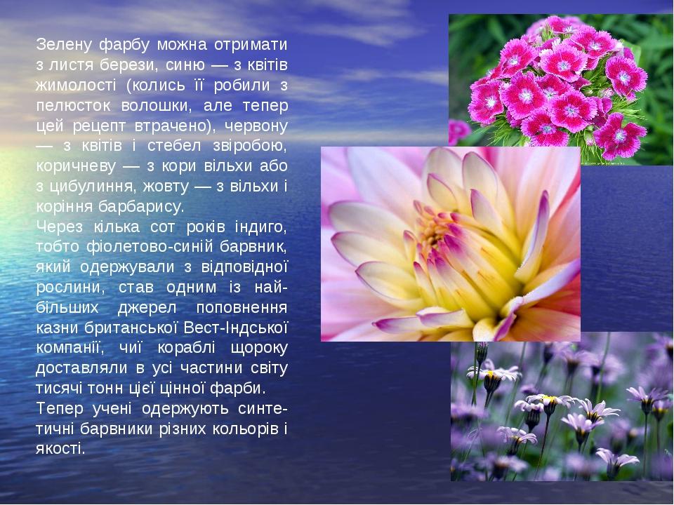 Зелену фарбу можна отримати з листя берези, синю — з квітів жимолості (колись...