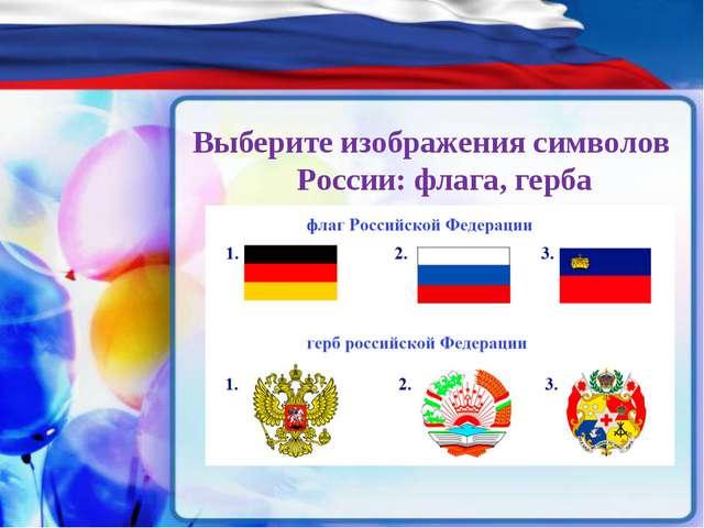Выберите изображения символов России: флага, герба
