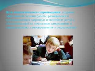 Цель педагогического сопровождения: создание эффективной системы работы, разв