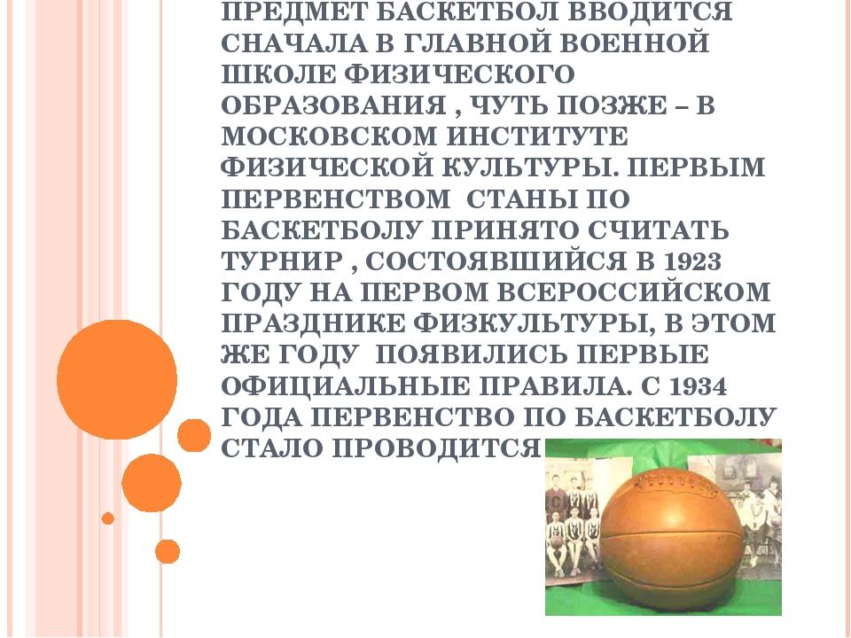 НОВАЯ ЖИЗНЬ БАСКЕТБОЛА В РОССИИ НАЧИНАЕТСЯ В НАЧАЛЕ 20-Х ГОДОВ. КАК САМОСТОЯТ...