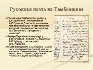 Рукописи поэта на Тамбовщине с.Рассказово Тамбовского уезда, у Е.П.Бакуниной