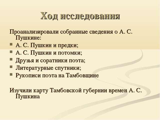 Ход исследования Проанализировали собранные сведения о А. С. Пушкине: А. С. П...