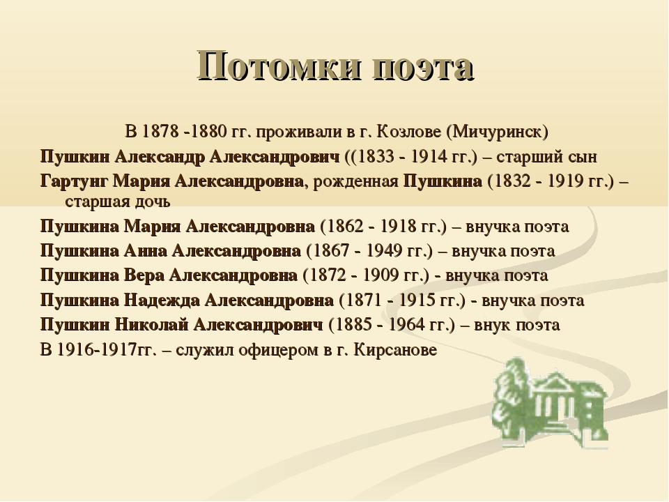 Потомки поэта В 1878 -1880 гг. проживали в г. Козлове (Мичуринск) Пушкин Алек...