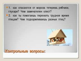 Контрольные вопросы: 1. как спасаются от мороза тетерева, рябчики, глухари? Ч