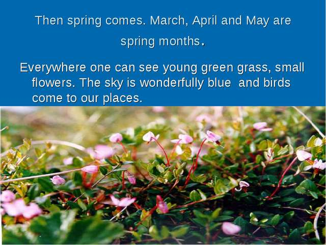 Then spring comes. March, April and May are spring months. Everywhere one can...