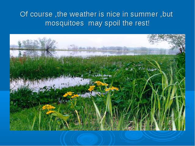 Of course ,the weather is nice in summer ,but mosquitoes may spoil the rest!