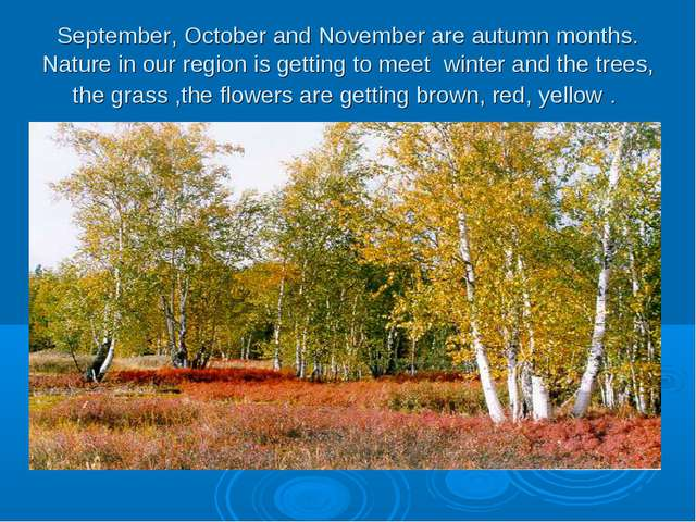 September, October and November are autumn months. Nature in our region is ge...
