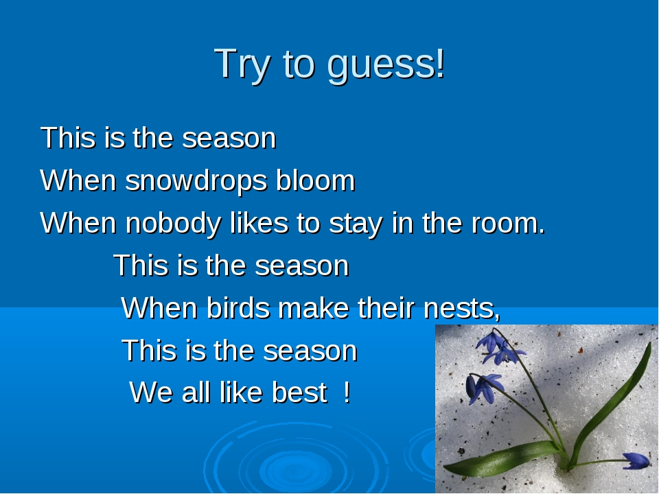Try to guess! This is the season When snowdrops bloom When nobody likes to st...