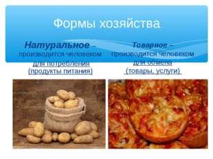 Формы хозяйства Натуральное – производится человеком для потребления (продукт