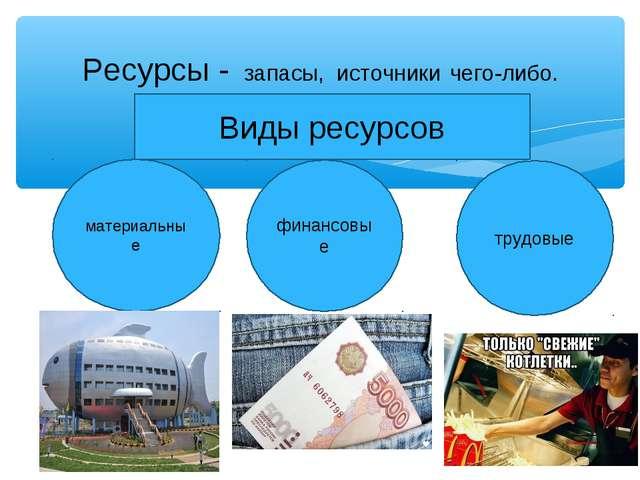 Ресурсы - запасы, источники чего-либо. материальные финансовые трудовые Виды...