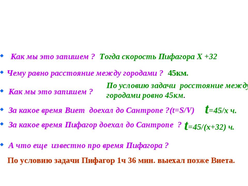 Как мы это запишем ? Тогда скорость Пифагора Х +32 Чему равно расстояние межд...