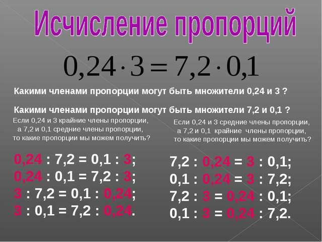 Какими членами пропорции могут быть множители 0,24 и 3 ? Какими членами пропо...